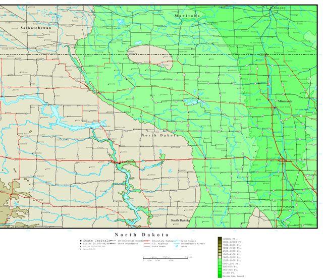 elevation map of North Dakota state, ND contour map