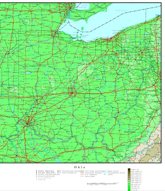 elevation map of Ohio state, OH contour map