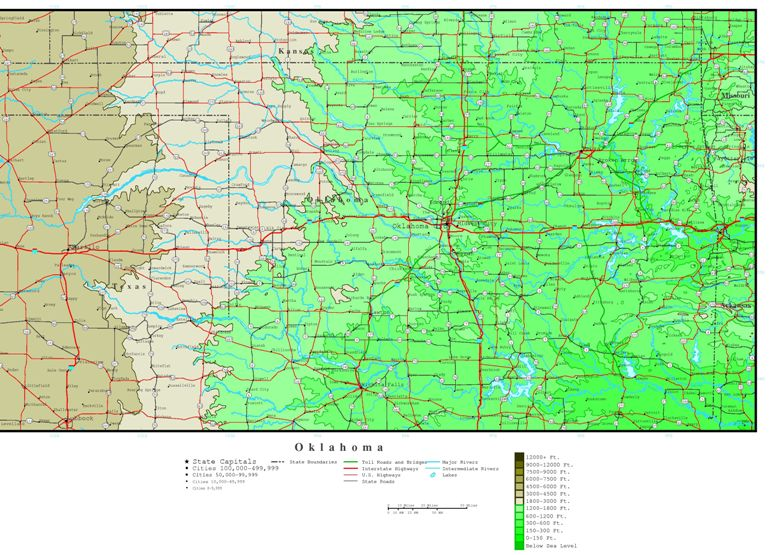 elevation map of Oklahoma state, OK contour map