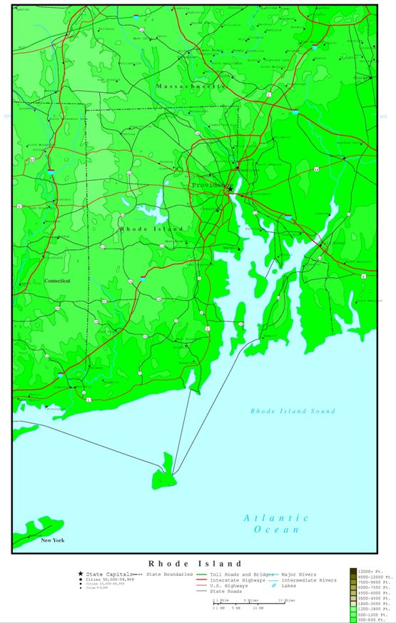 elevation map of Rhode Island state, RI contour map