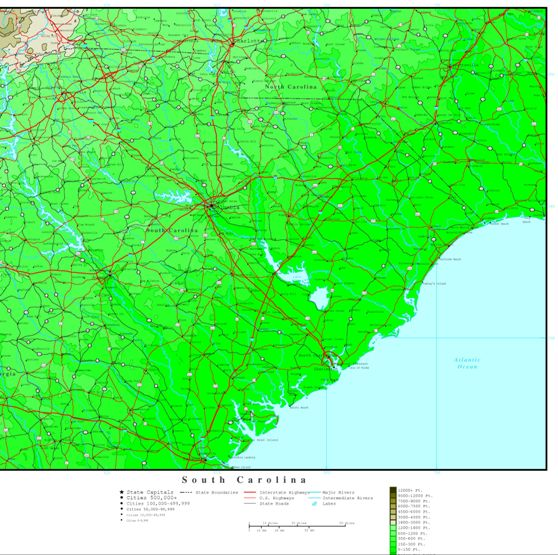 elevation map of South Carolina state, SC contour map