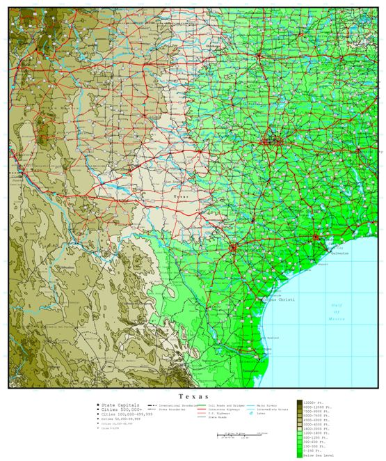elevation map of Texas state, TX contour map