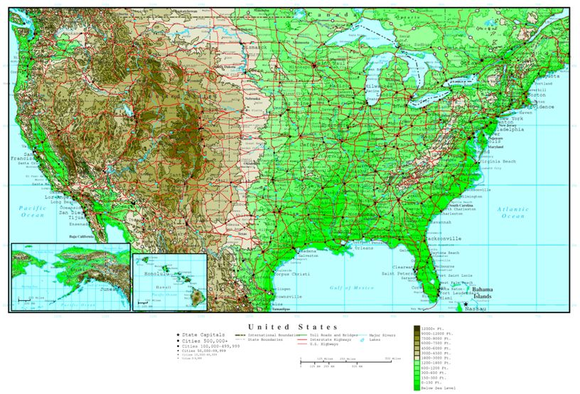 elevation map of United States states, USA contour map
