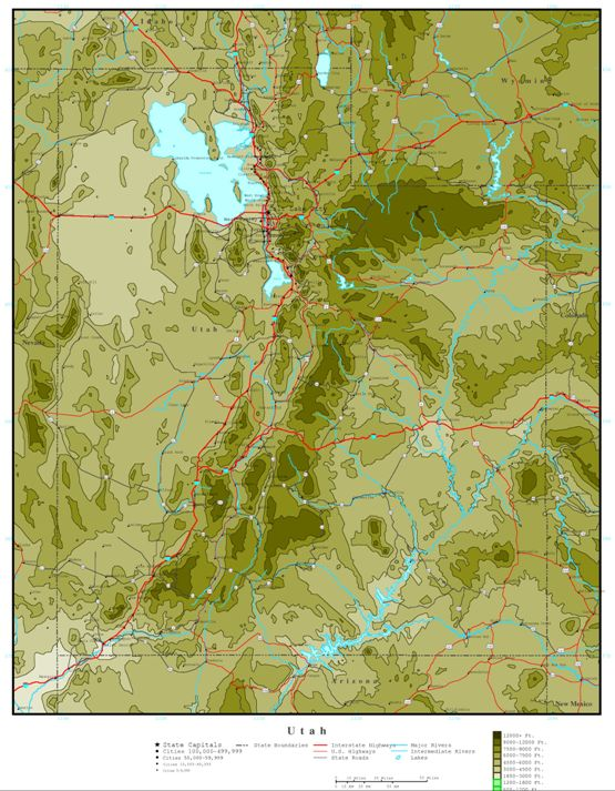 elevation map of Utah state, UT contour map