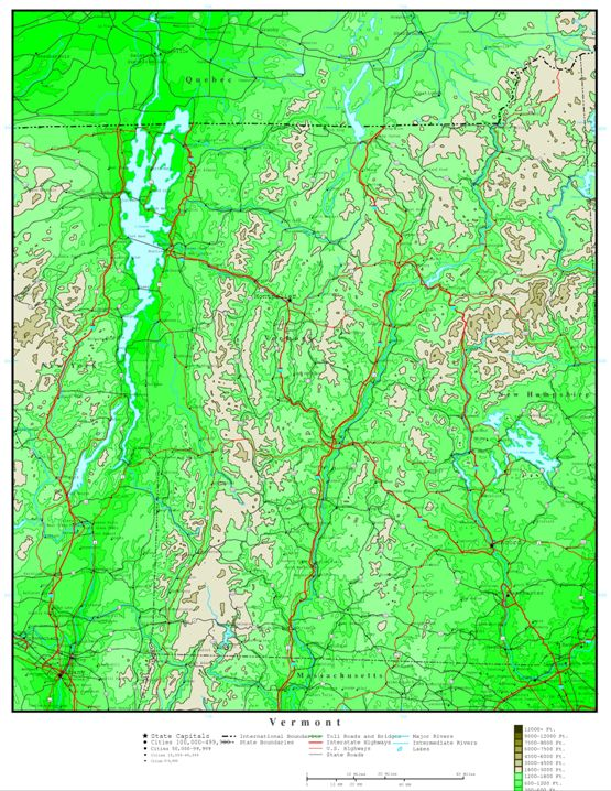 elevation map of Vermont state, VT contour map