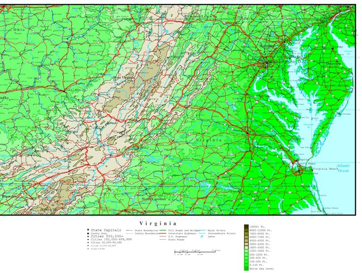 elevation map of Virginia state, VA contour map