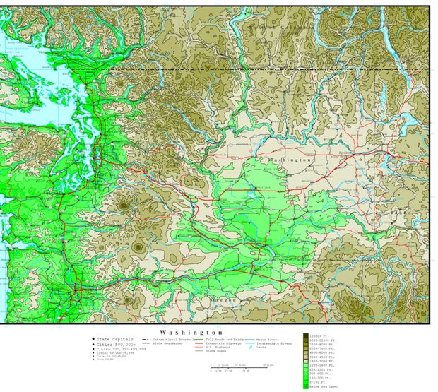 Elevation Map of Texas Elevation Map of Washington