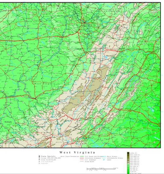 elevation map of West Virginia state, WV contour map