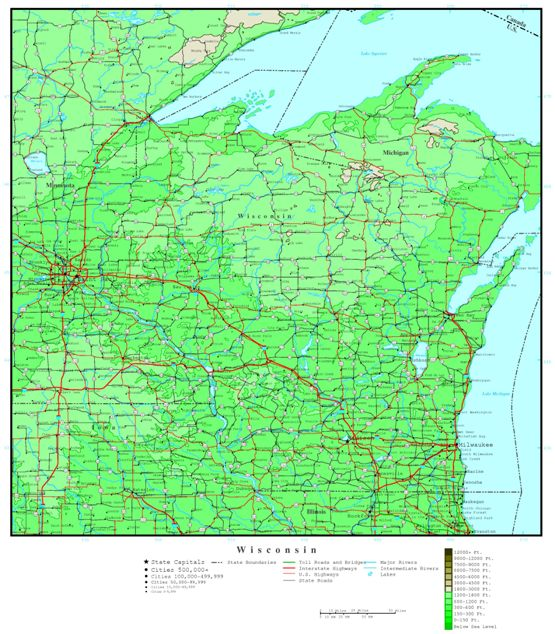 elevation map of Wisconsin state, WI contour map