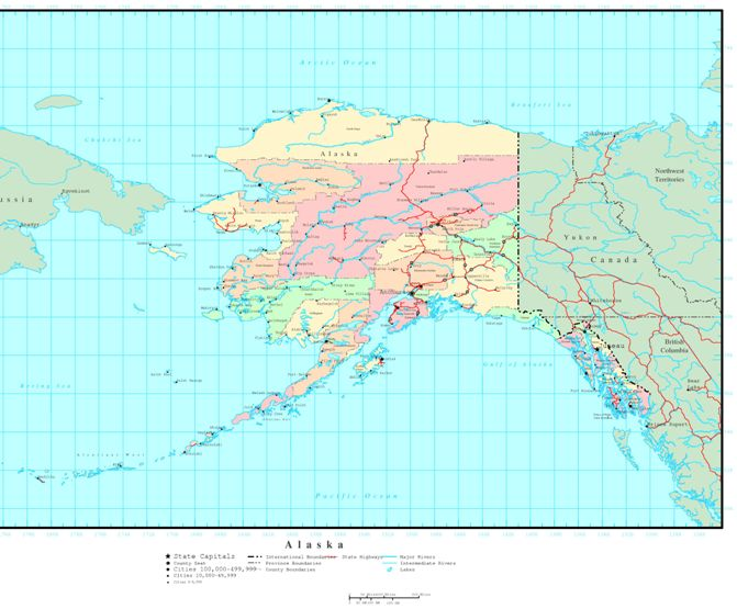 political map of Alaska state, AK reference map