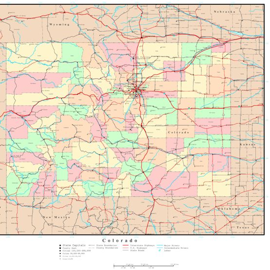 political map of Colorado state, CO reference map