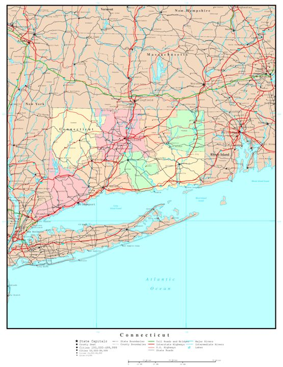 political map of Connecticut state, CT color map