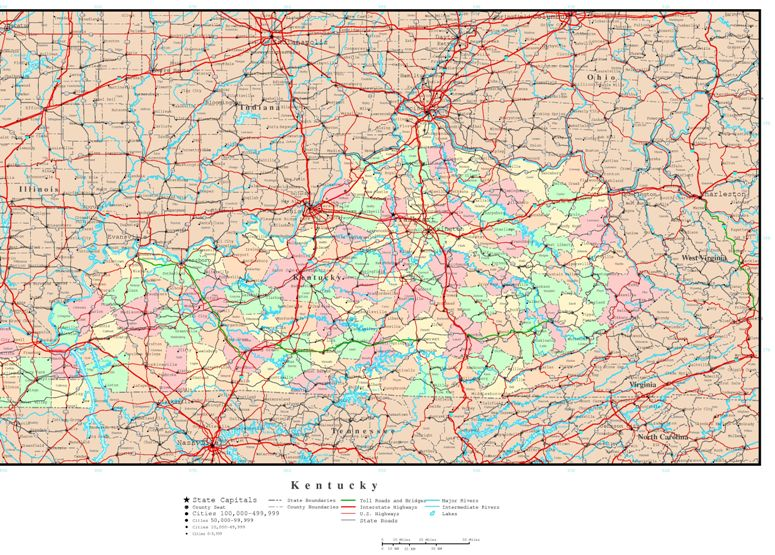 political map of Kentucky state, KY color map