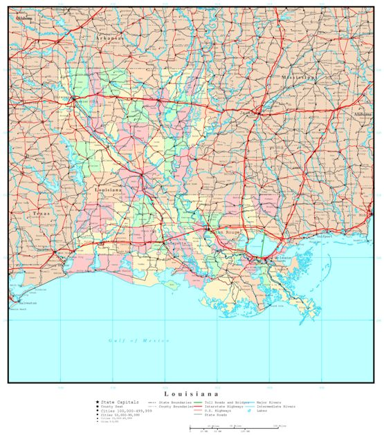 political map of Louisiana state, LA reference map