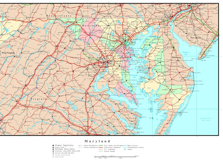 political map of Maryland state, MD reference map
