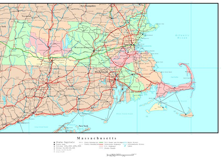 political map of Massachusetts state, MA color map