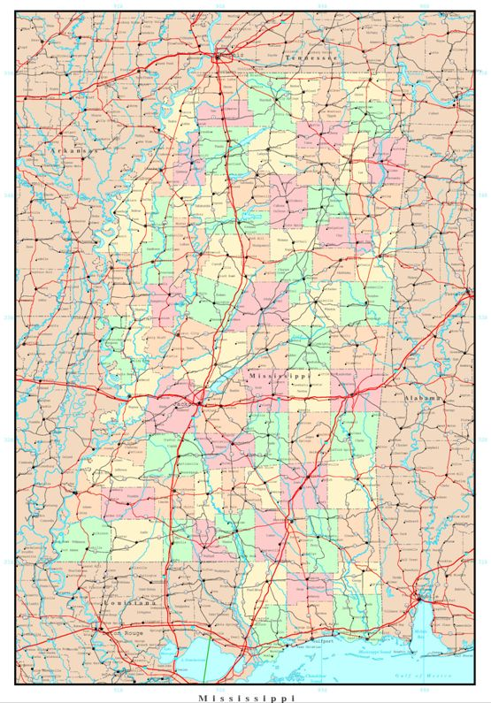 political map of Mississippi state, MS reference map