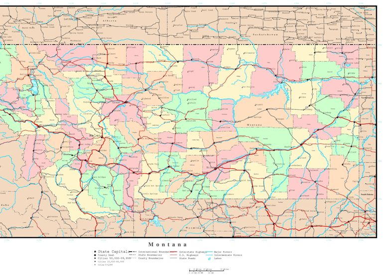 political map of Montana state, MT reference map