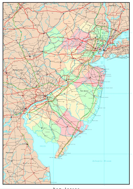 political map of New Jersey state, NJ reference map
