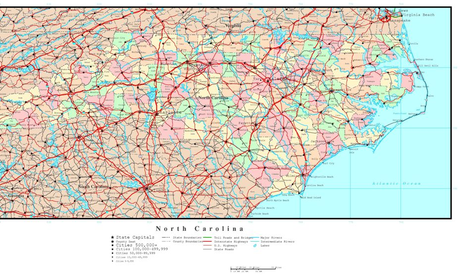 political map of North Carolina state, NC color map