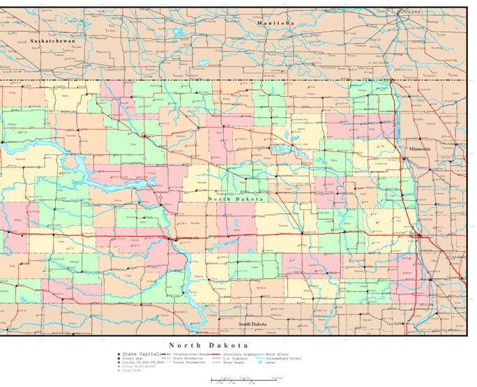 political map of North Dakota state, ND reference map