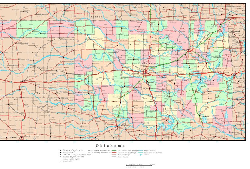 political map of Oklahoma state, OK reference map