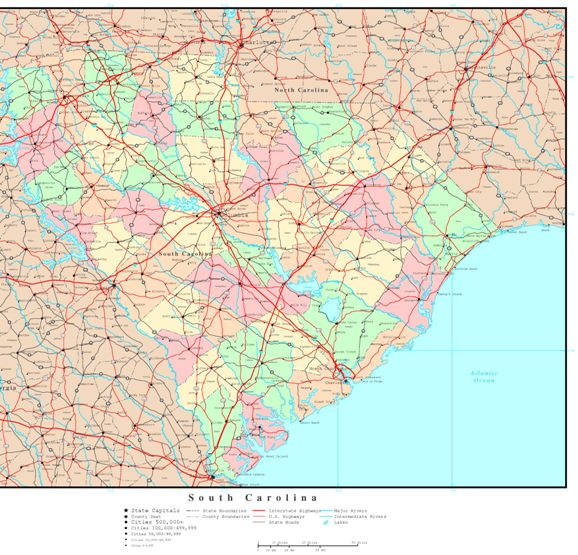 political map of South Carolina state, SC reference map