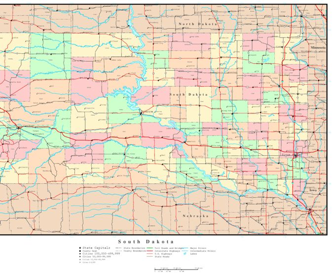 political map of South Dakota state, SD color map