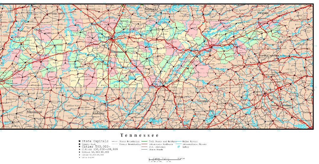 political map of Tennessee state, TN reference map