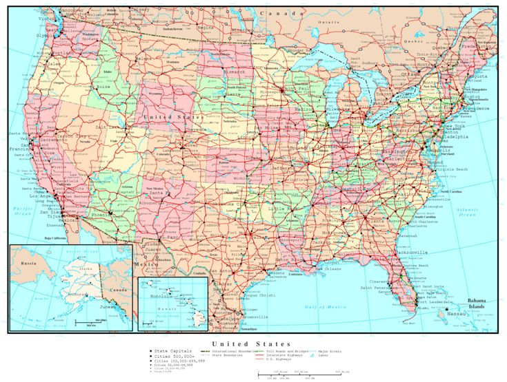 political map of United States states, USA reference map