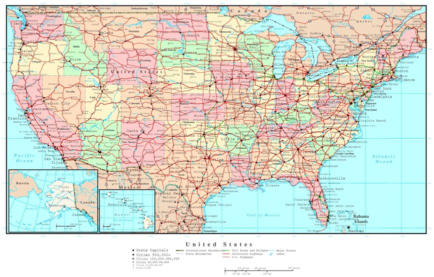 political map of United States states, USA color map