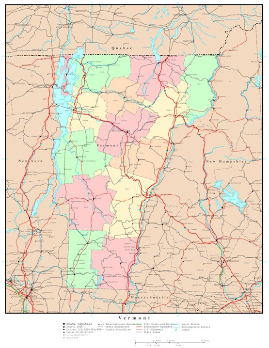 political map of Vermont state, VT color map