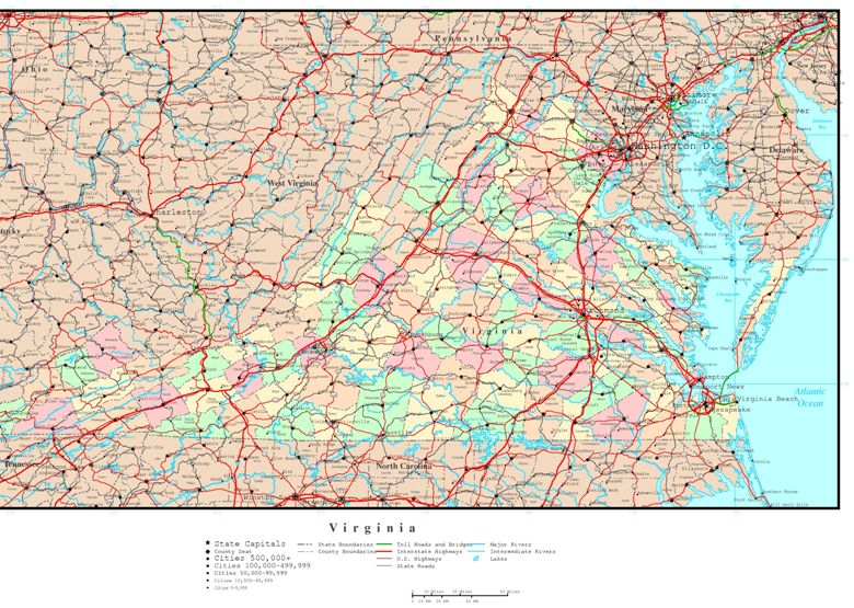 political map of Virginia state, VA reference map