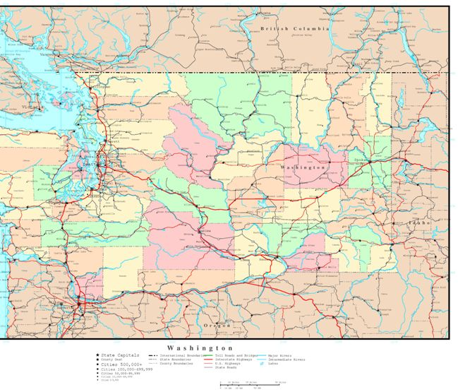 political map of Washington state, WA color map