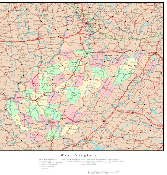 political map of West Virginia state, WV reference map