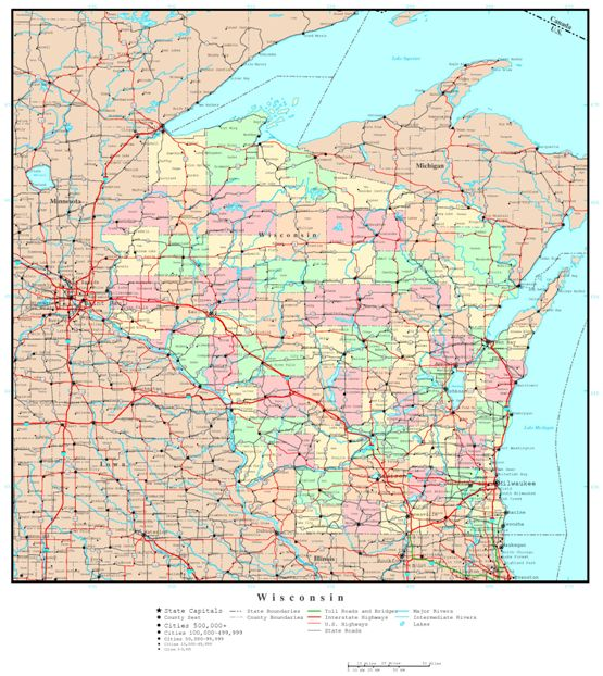 political map of Wisconsin state, WI color map