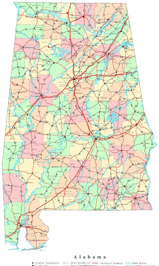printable map of Alabama state, AL political map