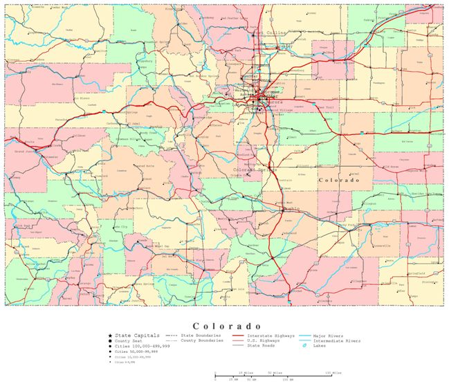 printable map of Colorado state, CO color map