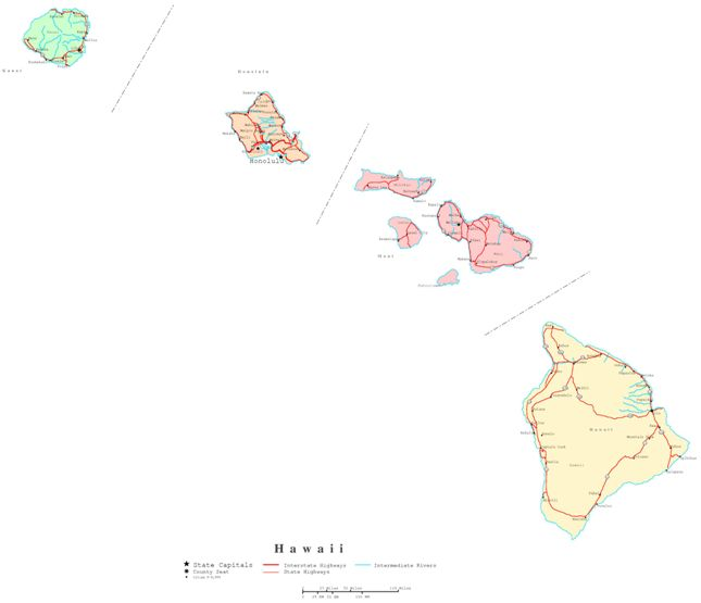 printable map of Hawaii state, HI political map