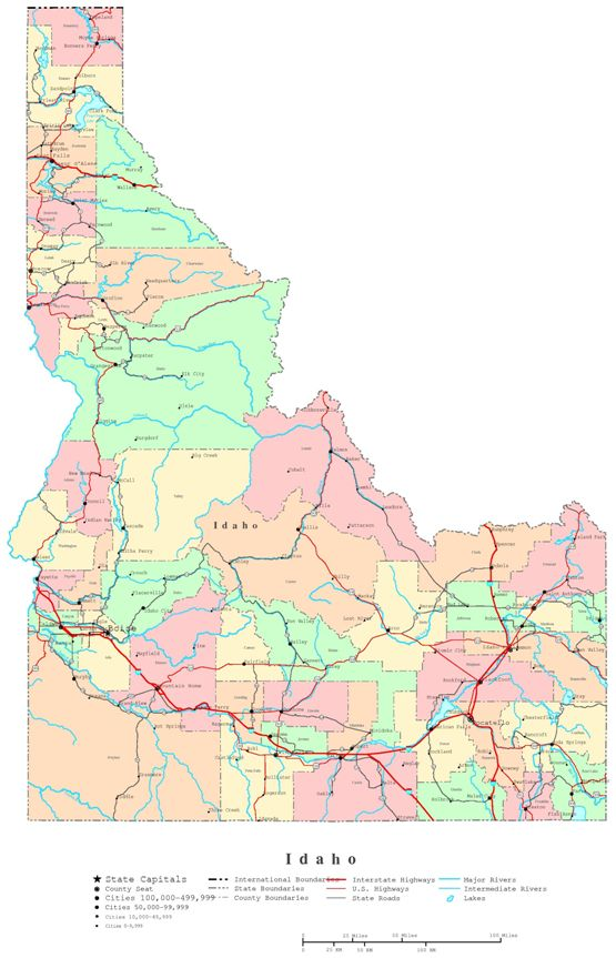 printable map of Idaho state, ID color map