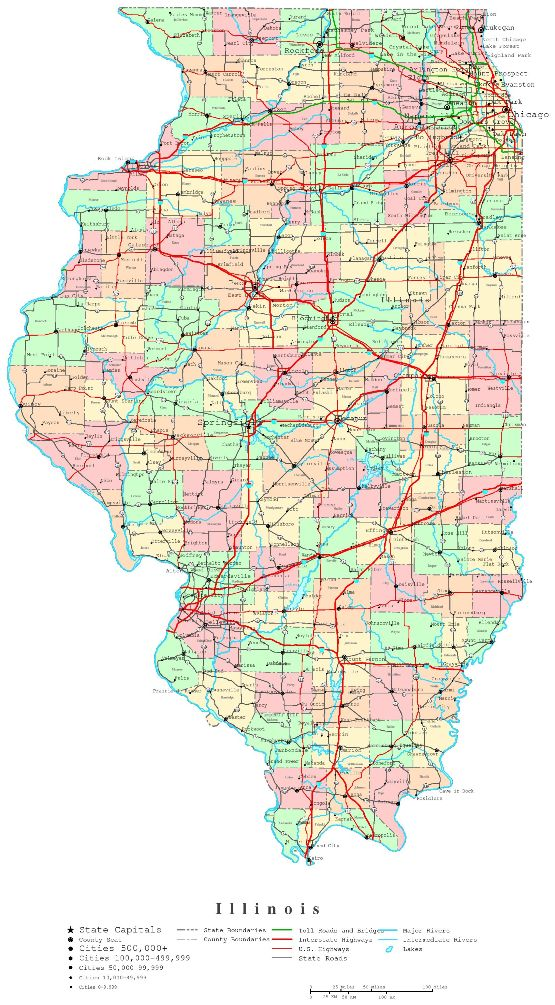 printable map of Illinois state, IL political map