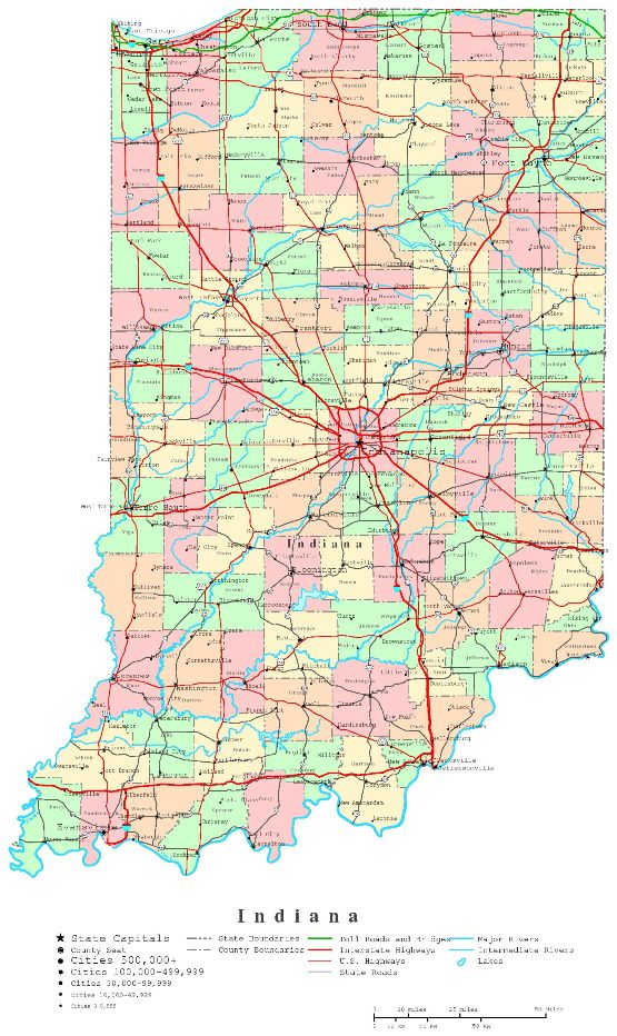 printable map of Indiana state, IN color map