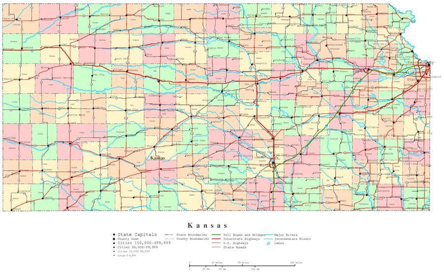 printable map of Kansas state, KS color map