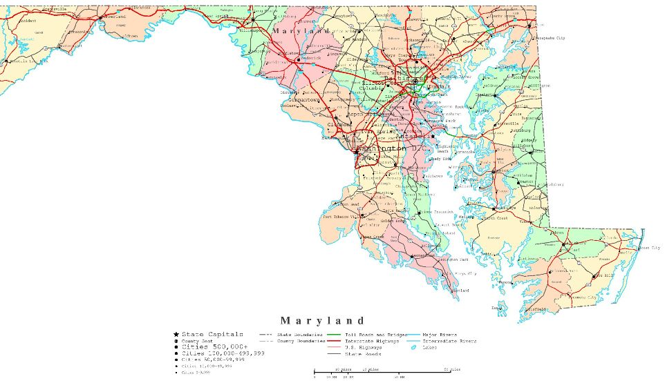 printable map of Maryland state, MD color map