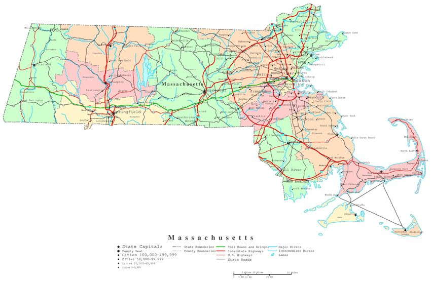 printable map of Massachusetts state, MA political map