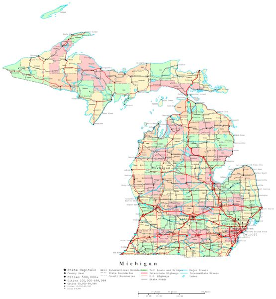 printable map of Michigan state, MI color map