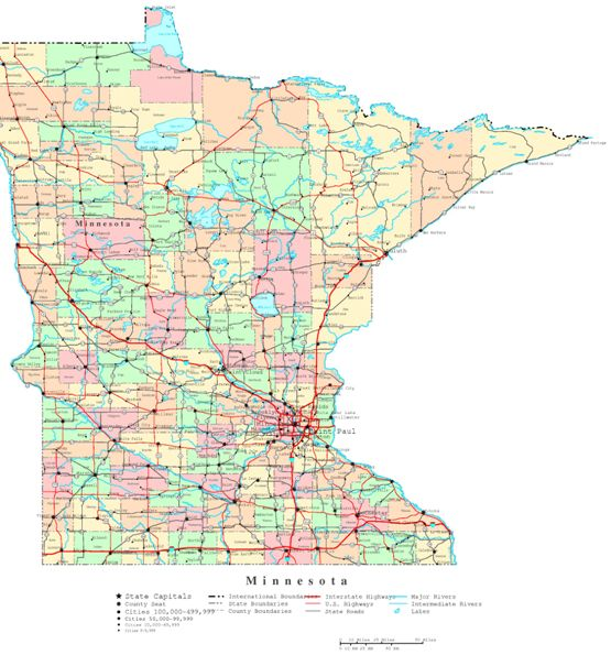 printable map of Minnesota state, MN political map