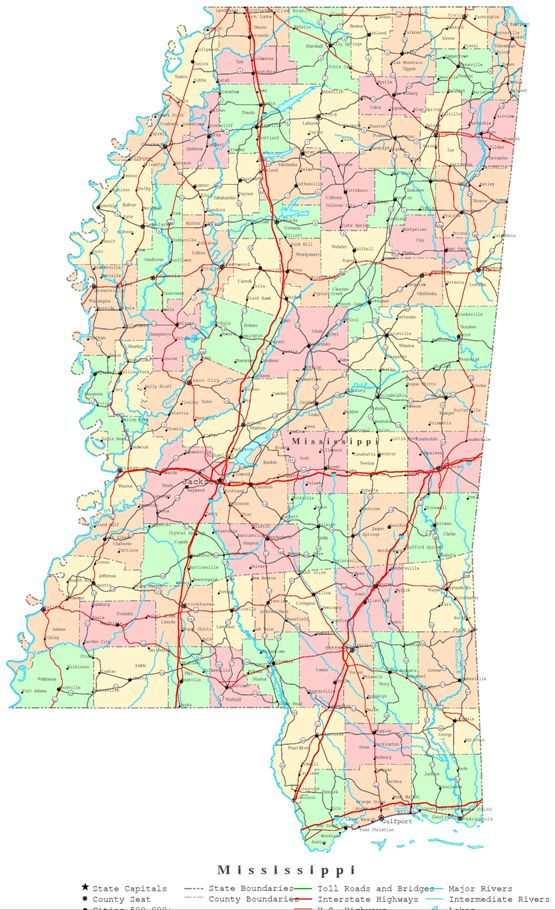printable map of Mississippi state, MS color map