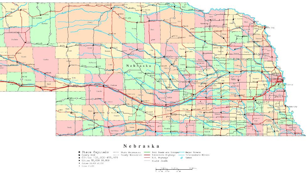 printable map of Nebraska state, NE political map