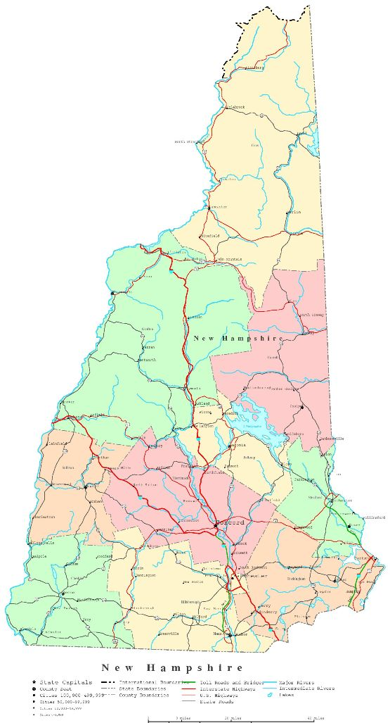 printable map of New Hampshire state, NH political map